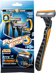 Power Edge 3 blade disposable razor package and razor