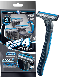 Power Edge 4 blade disposable razor package and razor