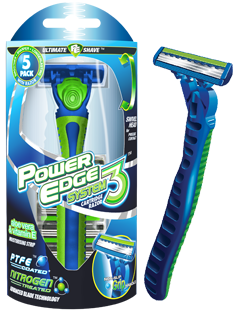 Power Edge system3 blade replaceable razor package and razor