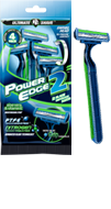 Power Edge 2 blade disposable razor package and razor small