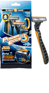 Power Edge 3 blade disposable razor package and razor small
