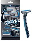 Power Edge 4 blade disposable razor package and razor small